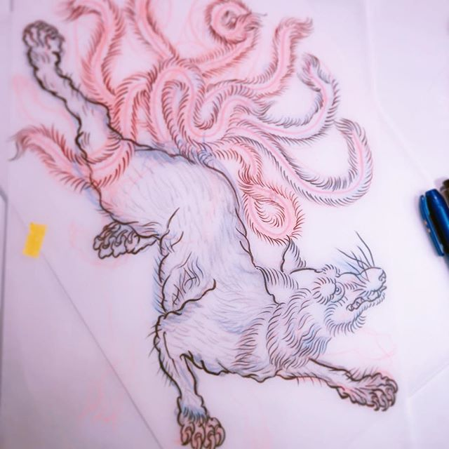 #九尾の狐 #ninetalesfox #下絵 #sketching ...#tattoo #reikotattoo #studiokeen #japan #nagoyatattoo #tokyotattoo #irezumi #タトゥー #刺青 #名古屋 #大須 #矢場町 #東京