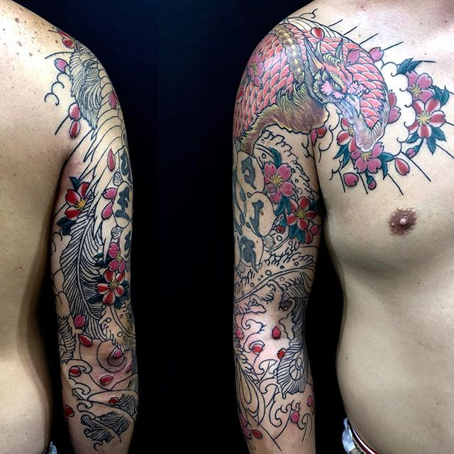 progress #鳳凰 #houou #phoenixtattoo ...#tattoo #reikotattoo #studiokeen #japan #nagoyatattoo #tokyotattoo #irezumi #タトゥー #刺青 #名古屋 #大須 #矢場町 #東京