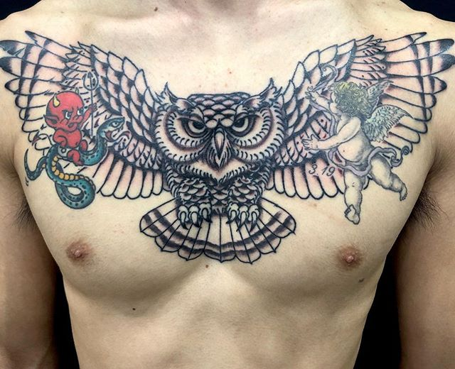 work in progress #owltattoo #フクロウ ...#tattoo #reikotattoo #studiokeen #japan #nagoyatattoo #tokyotattoo #irezumi #タトゥー #刺青 #名古屋 #大須 #矢場町 #東京